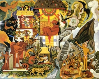 """Diego Rivera Pre Hispanic Of America Reproduction Giclee Art W Gallery Wrap Ready To Hang Size 28X20X1.5"""" & Larger"""