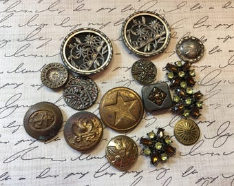Vintage Victorian Buttons, Military Buttons, Rhinestone Buttons - Lot #3
