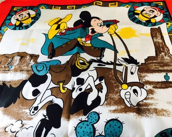 Vintage 1980s Woronowicz Walt Disney Cowboy Mickey Bandanna