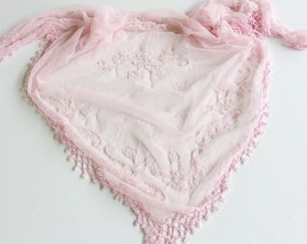 Outdoor Wedding Shawl, Pastel Pink Beaded Wedding Shawl, Second Wedding Shawl, Pink Crochet Shawl. Large Scarf for Bride, Paisley Pink Shawl