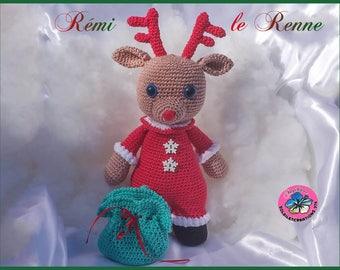 Remi the reindeer, crochet blanket, handmade