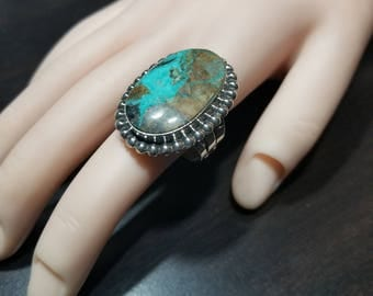 Navajo Native American Handmade Sterling Silver Turquoise Ring