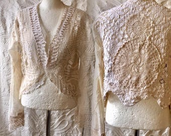 Boho knit cardigan ,repurposed crochet, gypsy lace clothing , hippie inspired, vintage inspired cardigan , gifts for her