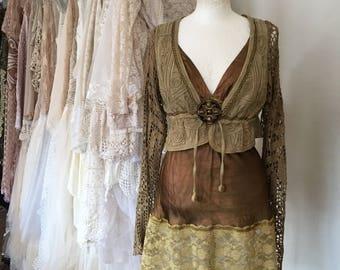 Woodland jacket, hippie cardigan,Crochet cardigan, handmade  ,boho jacket ,elven clothing,woodland inspired ,unique garment,treasure for lif