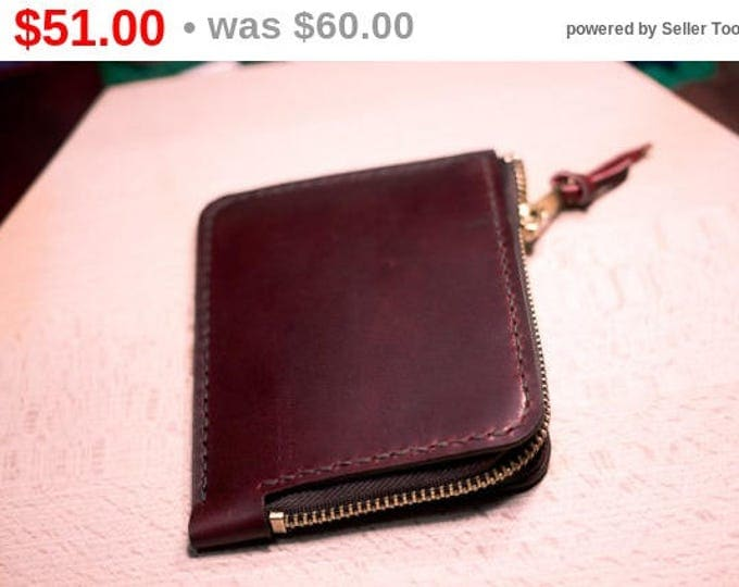 Italian Pull-Up Campari Leather Mini Zip Wallet