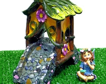 MINIATURE BRIDGE Fairy Bridge Cobblestone Bridge Fairy Kit Fairy Accessory Inside or Outdoor Covered Bridge Pink Cobblestone