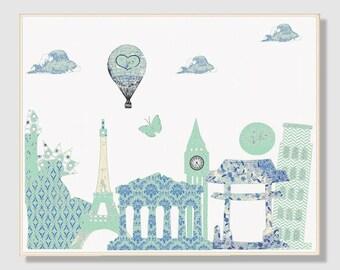 45 Nursery wall art, nursery decor,baby room decor,blue,beige,mint,travel nursery,landmarks and monuments, tableau chambre enfant
