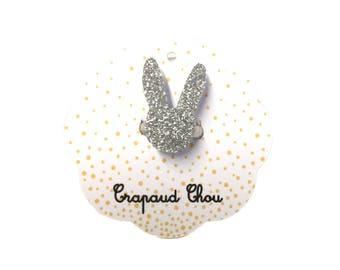 Silver glitter Bunny ring