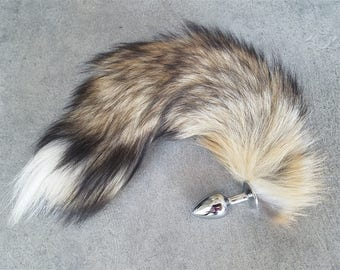 Real Fur Fox Tail Butt Plug - Foxy Tail Cosplay Anime Sexy Cute Animal Furry Kinky Pleasure