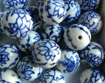 Bead - blue and white porcelain