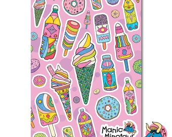 Ice Cream Stickers, Donut Stickers, Planner Stickers, Vinyl Stickers, Laptop Stickers, Phone Stickers, A5 Sticker Sheet, Fun Stickers.