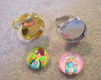 SET of 2 brackets rings child 10 + 2 original cabochons