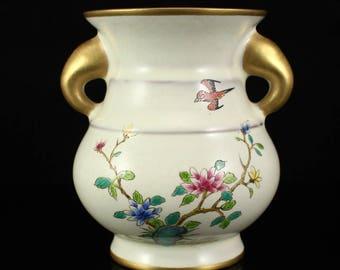 N4616 Chinese Gilt Gold Famille Rose Double Ears Porcelain Vase