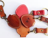 Personalized Initials Pick Case Leather Guitar Pick Holder  Keychain Gift Custom Color Key Chain