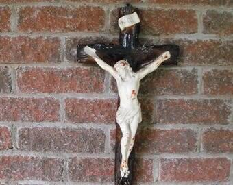 Crucifix, Chalkware, Big Crucifix, Religious Statue, Antique Crucifix, Chalkware Crucifix, Chalkware Jesus, Vintage Cross, Wall Crucifix