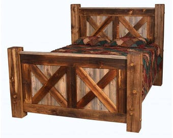 Barn Wood Pioneer Bed X Design, Natural Barnwood Bed, Rustic Bed, Rustic Furniture, Reclaimed Wood Bed