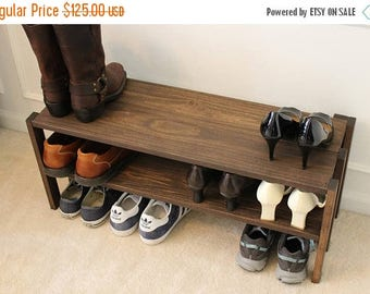 ON SALE Stunning Solid Wood Shoe Rack, Entryway Shoe Rack, Closet Shoe Rack, Closet Organizer, Shoe Stand, Shoe Shelving