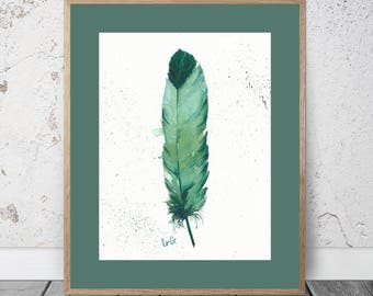 Feather Watercolor Feather Wall Art Watercolor Painting Emerald Feather Watercolor Painting Green Feather Watercolor Teal Feather Prints