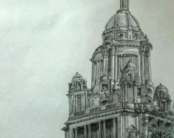 Detailed drawing of the Ashton Memorial Gardens, Lancaster. Original Artwork.