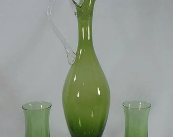 Green and clear blown glass decanter and two glasses mid century retro vintage