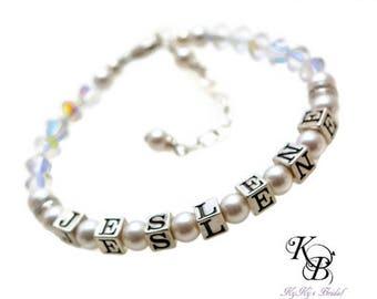Flower Girl Jewelry, Personalized Flower Girl Bracelet, Flower Girl Gift, Sterling Silver Bracelet, Personalized Jewelry, Wedding Jewelry