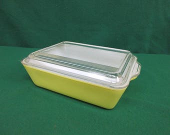 Vintage PYREX Yellow Primary Color Large Refrigerator Dish 1.5 Quart #503