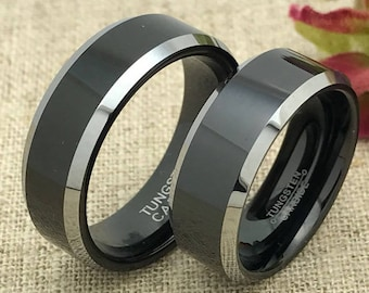 8mm His and Hers Wedding Rings, Personalized Custom Engraved Tungsten Rings, Wedding Rings, Two Tone Tungsten Rings, Couples Ring Set