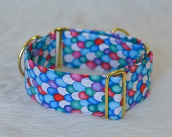 Blue Red Pink Green Silver Glitter Fish Mermaid Scales Scale Dog Collar - Choose your width and hardware! - By The Silver Hound
