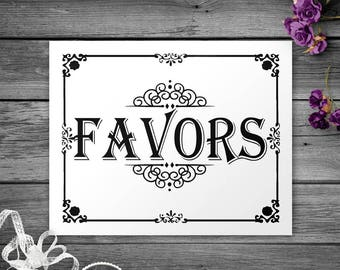 Printable Black and White Favors Sign, Printable Party Supplies, Party Favor Sign, Printable Party Decor, Instant download, Printable Sign