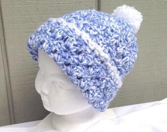 Childs Pom Pom hat - 2 to 5 years - Kids blue beanie - Kids accessories - Kids crochet beanie