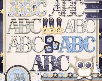 On Sale 50% Alphabets - Nighty Night Digital Scrapbook Kit Extra Alphabets - Digital Scrapbooking