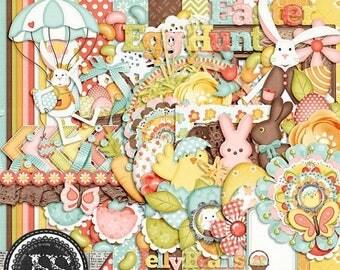 On Sale 50% Egg Hunt Easter or Spring Digital Scrapbook Kit, Holiday, Seasons