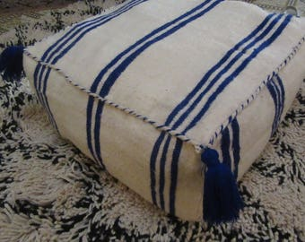 Moroccan Kilim Wool Pouf- Moroccan Pouf Floor Pillow- Hand Loomed Wool - Black - Off White Striped pouf