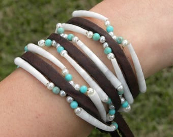 Triple Wrap bracelet or  double  wrap choker  genuine good luck dentalium shells Bison leather strap nice gift Native Indian  Shaman style