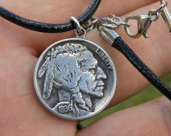 Authentic Buffalo Indian Nickel coin Various dates pendant bracelet anklet  tribal surfer style handmade leather adjustable chain chain