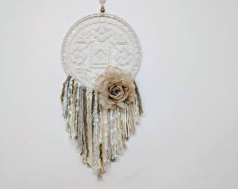 Vintage Filet Lace Doily Dreamcatcher Wall Hanging