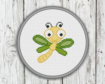 Cute Dragonfly Counted Cross Stitch Pattern, Needlepoint Pattern - PDF, Instant Download