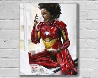 Ironheart Riri WIlliams Needs Coffee - Ironheart / Ironman Canvas Art Print