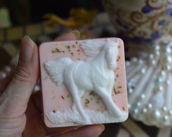 Goat milk soap bar,sculpted soap,running horse soap bar,hand made goat milk chamomile exfoliant soap, organic natural soap, horse soap