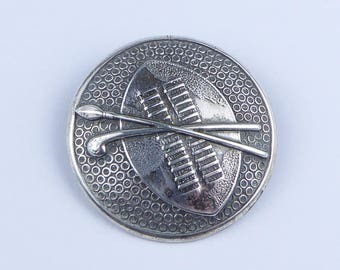 Candida South African silver brooch - Zulu shield, spear and club