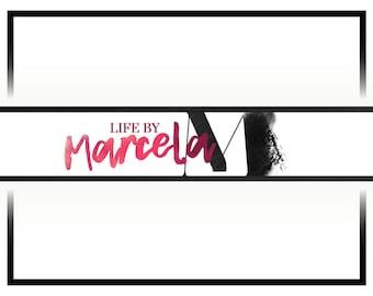 Premade Youtube Banner Logo   Youtube Cover Design   Pink Youtube Header Design   Vlog Cover Design   Watercolor Logo   Fashion Logo Design