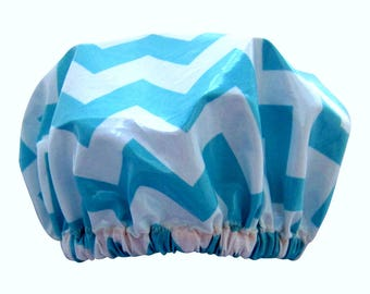 Luxury Shower Cap/ Shower Hat Laminated Sea Blue Waves Zig Zag