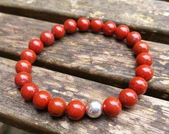Red Jasper Bracelet, Beaded Bracelet, Stretch Bracelet, Jasper Bracelet, Beaded Bracelet, Red Bracelet