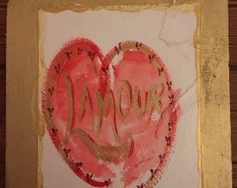 L'Amour watercolor mounted on wood panel