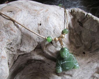 Jade Buddha and Gold Tone Necklace Green Jade Jewelry Figural Accessory Charm Necklace