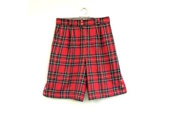 SALE Vintage womens shorts / Womens high waist plaid TARTAN WOOL Shorts / Womens autumn winter 80's 90's shorts