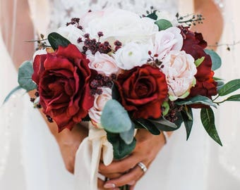 Burgundy Blush Bouquet, Bridal Bouquet, Wedding Bouquet, Red Burgundy Bouquet, Dark Red Bouquet
