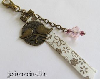 Door-key/bag charm bronze birds on branch