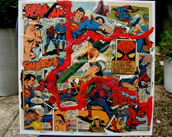 """3 COMICS"" COLLAGE on canvas COMICS comic book from the 70s"