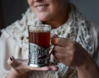 Podstakannik ZAPORIZHIA Glass Holder RAILROAD of Soviet Ukraine 80s Tea Serving Gift for Him Ukrainian Podstakannik Souvenir Ukrainien 1980s